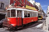 stock photo of tram  - view of two typical old trams in Lisbon - JPG