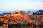 picture of parthenon  - Acropolis in Athens Greece in the evening before sunset - JPG