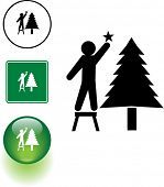 image of reach the stars  - placing a star in a Christmas tree - JPG