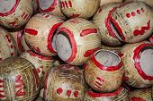 foto of calabash  - Calabashes Cups Pile For Sale At Chichicastenango Market Guatemala - JPG