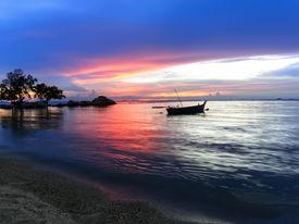picture of nightfall  - Wongamat Beach Nightfall - JPG