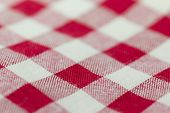 stock photo of tartan plaid  - Closeup of Texture red tartan plaid textile fabric for background