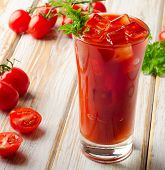 image of bloody mary  - Bloody Mary Alcoholic cocktail with fresh tomatoes - JPG