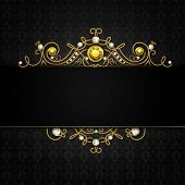 picture of tiara  - Jewellery black background with unique classic vintage golden diamond gems tiara vector illustration - JPG