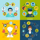 image of policeman  - People professions flat icons set with doctor policeman chef teacher isolated vector illustration - JPG