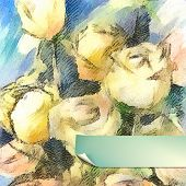 stock photo of impressionist  - Hand Drawn Vector Watercolor Roses - JPG