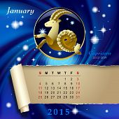 picture of capricorn  - Simple monthly page of 2015 Calendar with gold zodiacal sign against the blue star space background - JPG