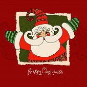 foto of christmas claus  - Merry Christmas vector card with Santa Claus - JPG