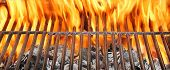 stock photo of flames  - Summer BBQ in the Backyard - JPG