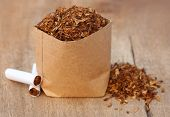 picture of tobacco leaf  - Dried tobacco leaves with cigarette on wooden surface - JPG