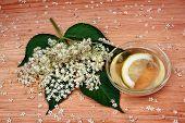 foto of elderberry  - Health drink from elderberry flowers on a wooden table - JPG