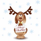 stock photo of antlers  - an illustration of Funny dog with reindeer antlers - JPG