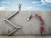 stock photo of fail-safe  - business people and wall challenge - JPG