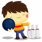 image of bowling ball  - a man bowling with bowling ball and pins - JPG