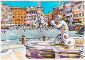 picture of piazza  - original marker painting of Rome Italy cityscape architectural details of Fontana del Moro or Moro Fountain - JPG