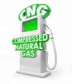 picture of fuel pump  - CNG acronym in greed 3d letters on an alternative fuel pump and words Compressed Natural Gas on it to advertise the clean energy or power option - JPG
