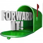 picture of mailbox  - Forward It 3d words in green metal mailbox to illustrate sharing - JPG