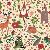 stock photo of owls  - Cartoon Christmas seamless pattern for winter holidays designs in bright colors - JPG