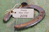 pic of year horse  - Happy new year 2016 with horse shoe as lucky charm - JPG