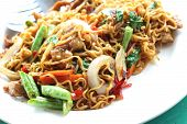 picture of noodles  - Stir fried noodle spicy in pork in place  - JPG