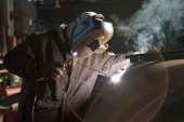foto of welding  - Manual metal arc welding element of the apparatus of the petrochemical industry