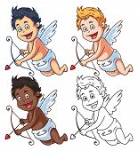 picture of cupid  - A set of cartoon vector cupids with bow and arrow  - JPG