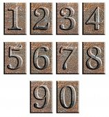 pic of arabic numerals  - Metal type numbers isolated on white - JPG
