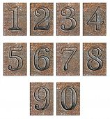 foto of arabic numerals  - Metal type numbers isolated on white - JPG