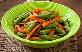 stock photo of sauteed  - Sauteed green beans with carrots - JPG