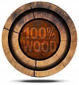 pic of 100 percent  - Wooden icon with wooden section of tree trunk and wooden text 100 - JPG