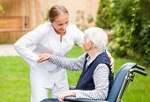 image of geriatric  - Photo of young carer helping the elderly woman - JPG