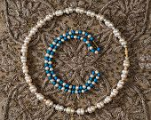 pic of beads  - Bead of white pearls and turquoise and bead of white pearls  - JPG