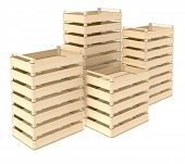 picture of wooden crate  - stacks of wooden crates on white background  - JPG