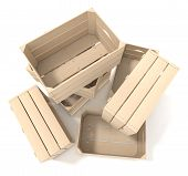 pic of wooden crate  - one pile of wooden crates on white background  - JPG