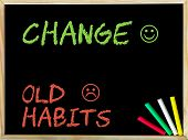 stock photo of  habits  - Change Old Habits message with sad and happy emoticon faces - JPG