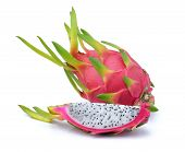 foto of dragon fruit  - dragon fruit on a white background  - JPG