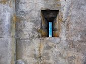 picture of slit  - Rifle slit in the ancient fort stone wall - JPG