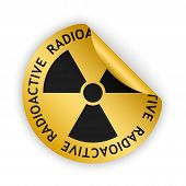 picture of radioactive  - vector gold bent sticker with black radioactive sign - JPG