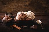 stock photo of ijs  - Sweet homemade ice cream in wooden bowlselective focus - JPG
