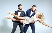 picture of single man  - Young blonde beauty and two handsome men - JPG