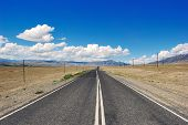 picture of steppes  - Open road in mongolian steppe desert Russia