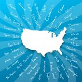 stock photo of texas map  - Hand drawn USA map in blue with handwritten state names - JPG