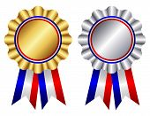 pic of rosettes  - Gold and silver award ribbon rosettes with shiny red white and blue ribbons illustration isolated on white background - JPG