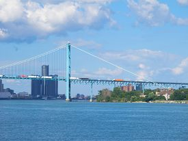 picture of mile  - The Detroit River changes direction at the Ambassador International Bridge so that for a few miles it flows east and west before it flows into Lake St - JPG