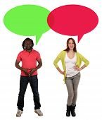picture of multicultural  - Smiling multicultural multi ethnic young people man and woman talking with speech bubble and copyspace - JPG
