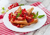 image of french-toast  - French toast with berries and jam for breakfast - JPG