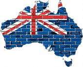 Постер, плакат: Australia map on a brick wall