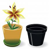 stock photo of flower pots  - Growing flower in a pot and black empty pot vector illustration - JPG