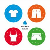 image of wet t-shirt  - Water drops on button - JPG
