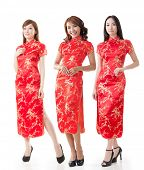 stock photo of traditional dress  - Group of Chinese women dress traditional cheongsam at New Year - JPG
